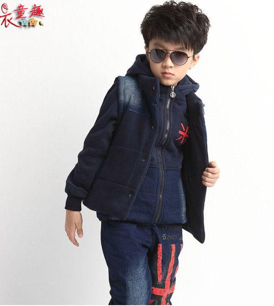 衣童趣韓版兒童男女套裝時尚加絨加厚三件式褲裝休閒運動服套裝現貨