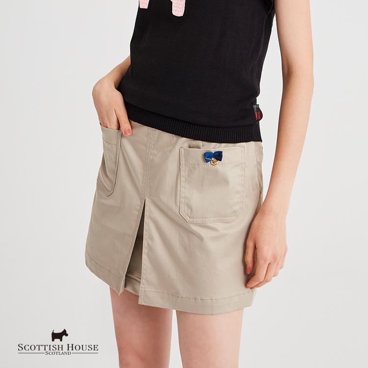 素面前貼袋合褶短裙 Scottish House【AH2153】