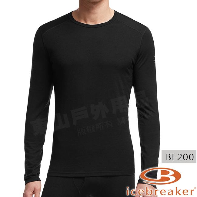 Icebreaker 100476-001黑男羊毛圓領保暖衣Oasis美麗諾控溫長袖休閒上衣排汗快乾機能服