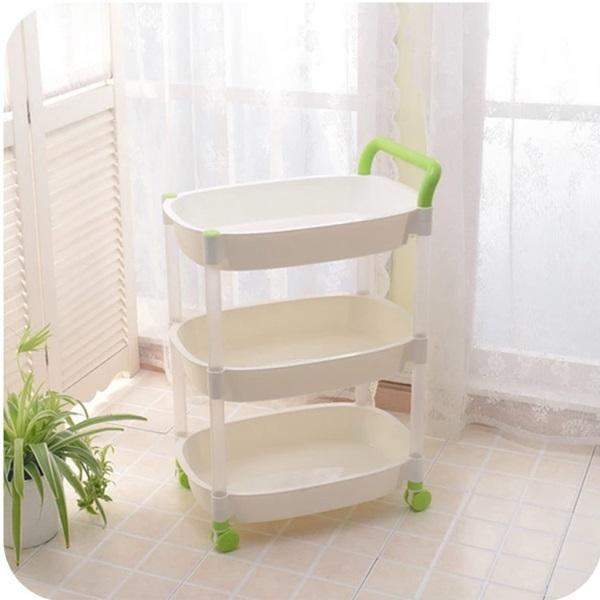♚MY COLOR♚手推式滑輪收納置物架 居家分類 廚房 衛浴 客廳 便捷  創意 整理 帶輪 三層 【W05】