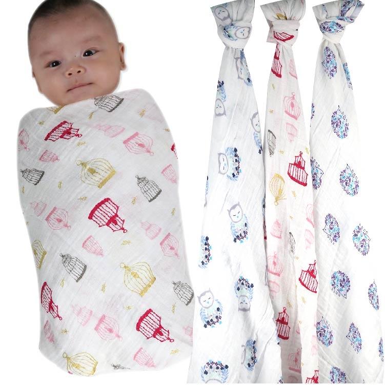 歐美雙層紗布包巾/被毯【JA0079】 嬰兒包巾 手推車嬰兒床 雙層紗布被毯