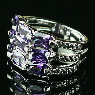 特價復古飾品 誇張鑲鑽紫色鑽石寬戒指女潮人食指環