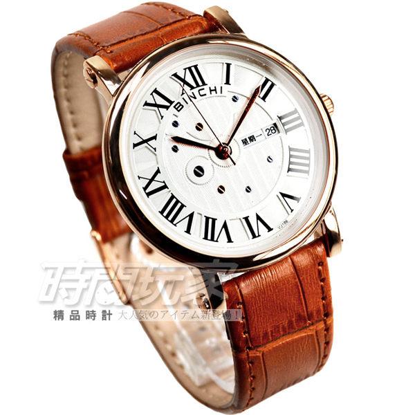 BINCHI羅馬時刻經美設計腕錶男錶皮革錶帶羅馬數字時刻石英錶咖啡x玫瑰金BI-1014玫大