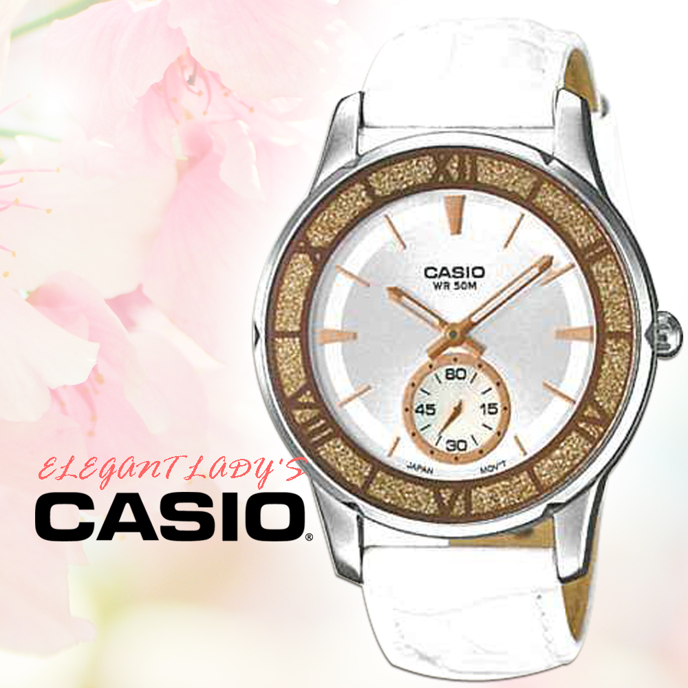 CASIO手錶專賣店CASIO手錶LTP-E135L-7A女錶指針錶真皮錶帶50米防水礦物玻璃