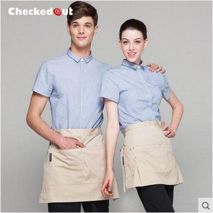 酒店工作服西餐廳咖啡廳速食店餐飲服務員制服男女精品夏裝短袖4色YK391