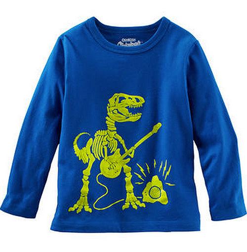Carter's/OshKosh B'gosh 美國童裝 恐龍吉他 純棉T恤 長袖 藍色 12M