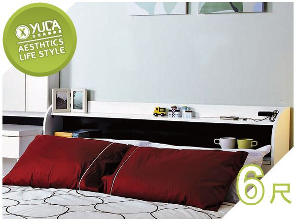 床頭箱YUDA北歐風格凡斯波麗漆貼心插座設計6尺雙人加大床頭箱床頭櫃J7S 449-3