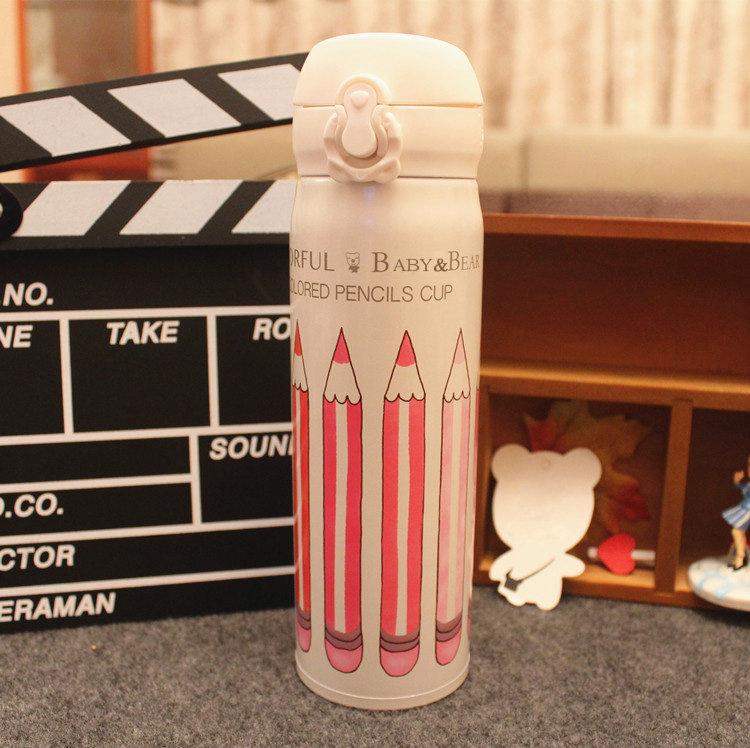 保溫瓶【KCW047】學院風鉛筆款保溫杯500ml-收納女王