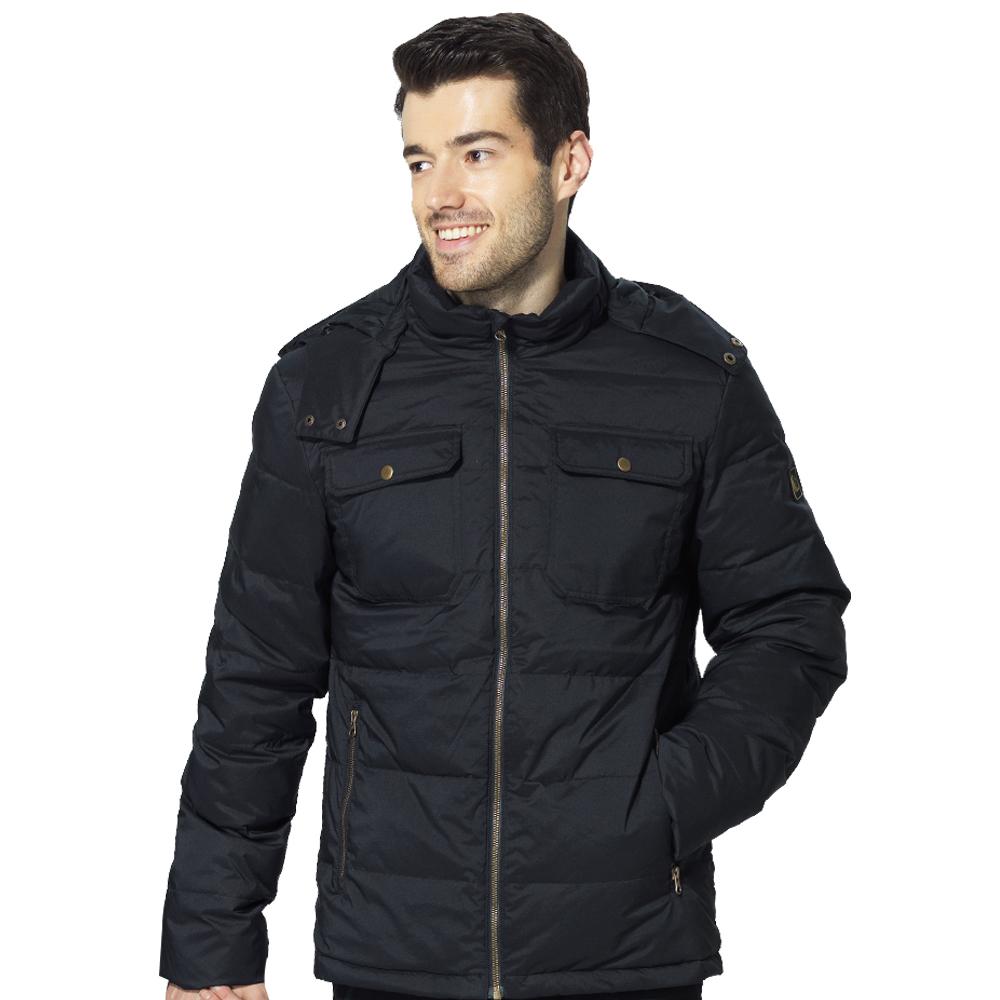 男-時尚經典可拆式連帽防潑鵝絨羽絨外套(88137)