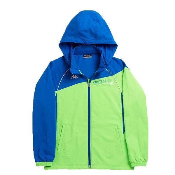 KAPPA義大利型男吸濕排汗3D單層風衣外套~螢光綠義大利藍可拆帽