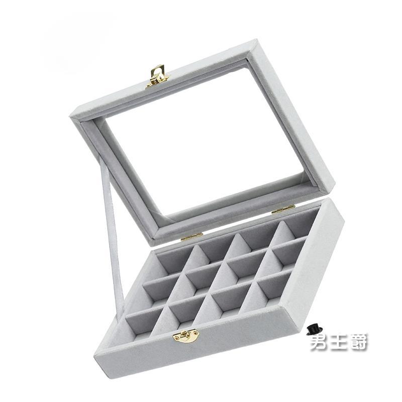 首飾盒首飾架絨布首飾收納盒小號便攜珠寶箱戒指耳釘耳環手鏈飾品展示盒子男主爵