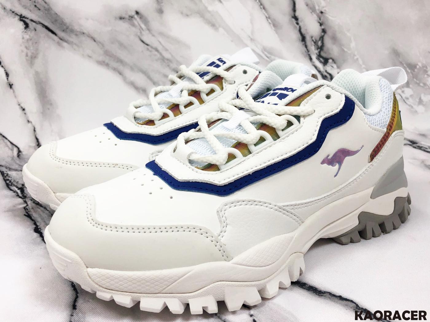 KangaROOS 女款藍色線條白色休閒鞋-NO.KW91189
