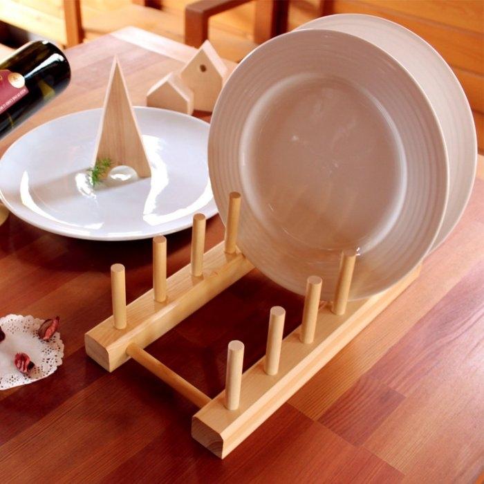 【木樂館】原木實木盤架│阿拉斯加扁柏黃檜│廚房餐具架瀝水架砧板架