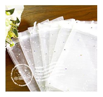 幸福朵朵【亮片白色雪紗袋(約12x17cm)】送客喜糖包裝袋/化妝品保養品紗網袋/禮物包裝