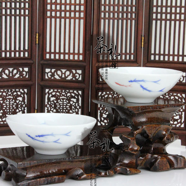 青花瓷蘭彩手繪藍小魚白色斗笠杯2個組
