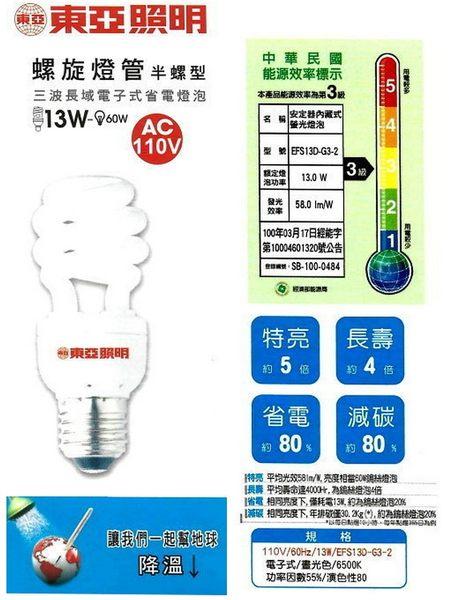【燈王】台灣製 東亞 E27燈頭 13W 螺旋省電燈泡(易碎品需自取) ☆ FSL13-CE