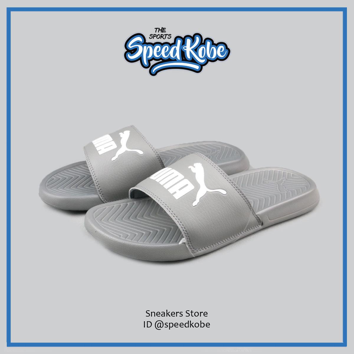 PUMA拖鞋Popcat灰白防水軟墊經典款男女36026515 SP