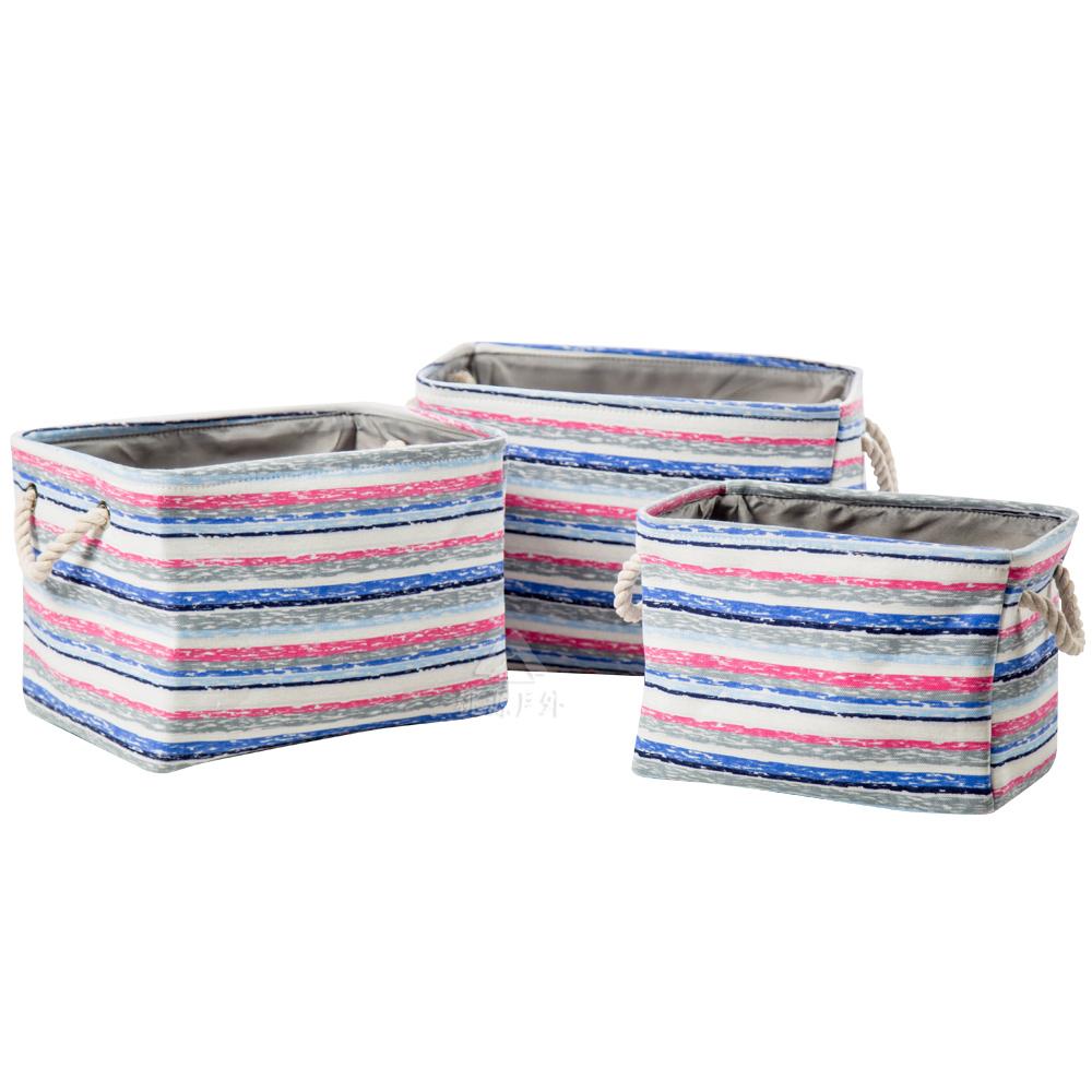 三入收納箱條紋藍1717018收納籃玩具盒分類袋分裝袋雜物衣籃手提戶外露營
