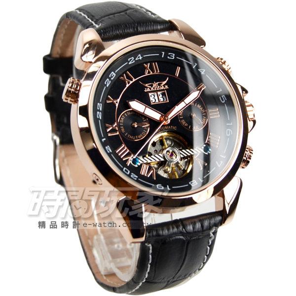JARAGAR 全自動機械錶 雙日曆腕錶 皮革男錶 羅馬數字時刻 真三眼防水手錶 簍空 玫瑰金 J597玫黑