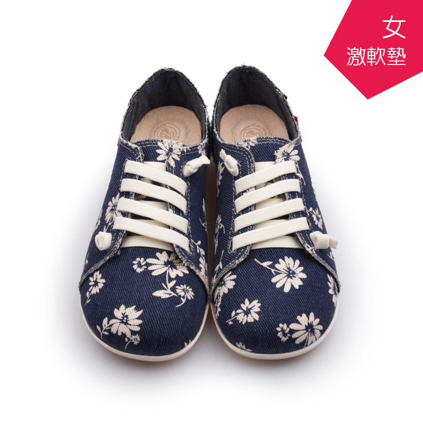 A MOUR經典手工鞋花紋饅頭花深藍氣墊鞋平底嚴選亞麻布超軟饅頭鞋DH-2722