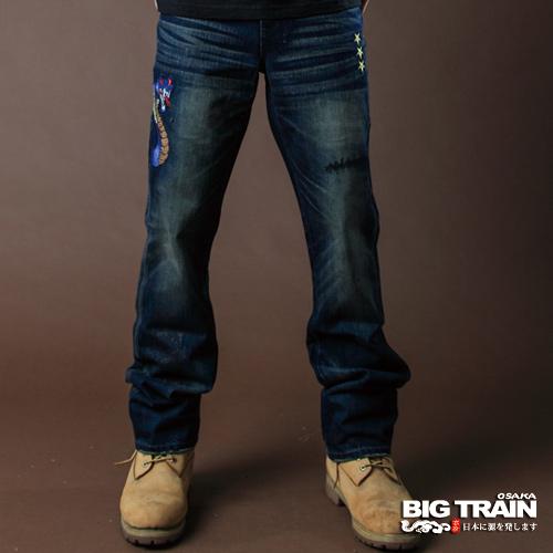 牛仔特惠3折起BIG TRAIN COBRA眼鏡蛇小直筒褲-男-深藍