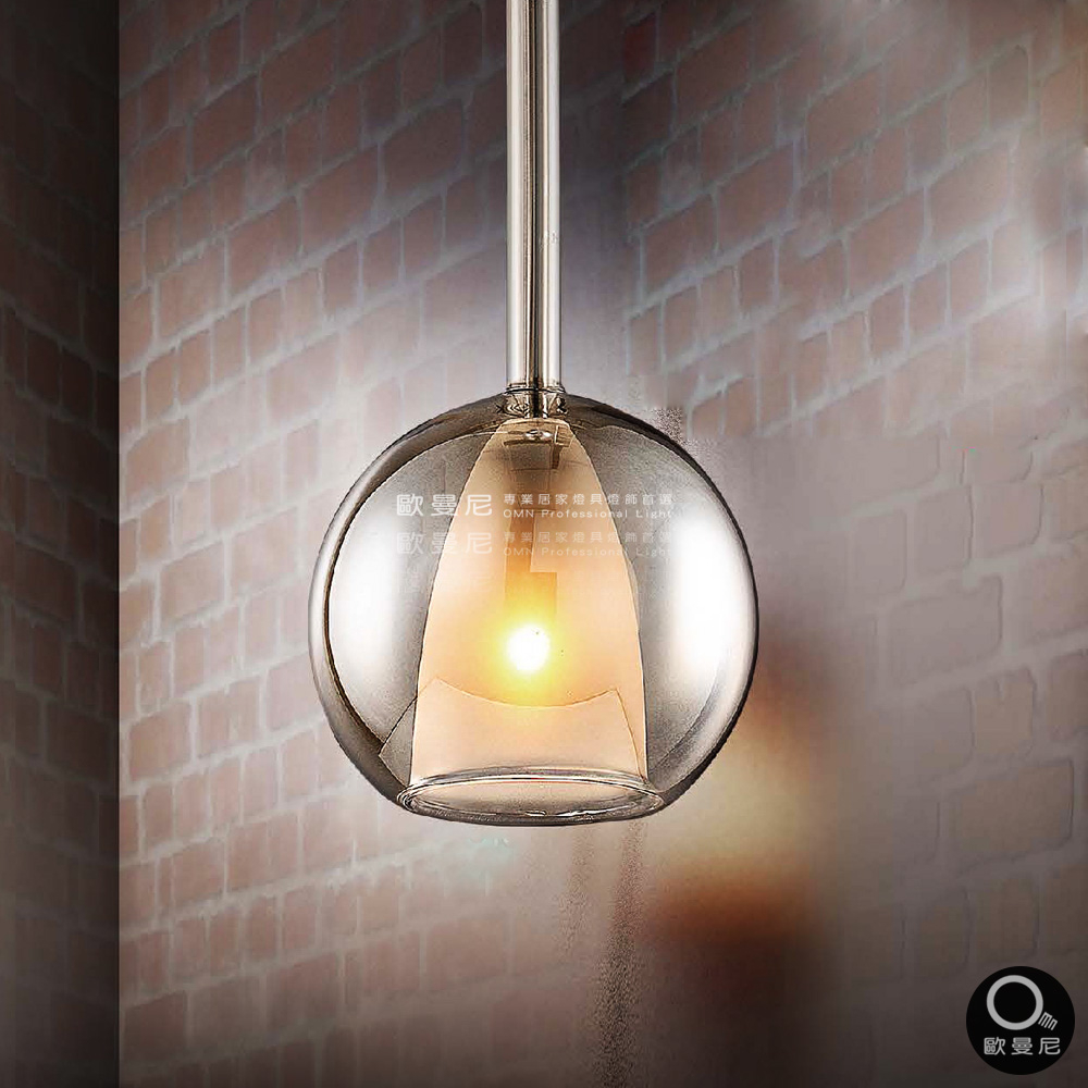 吊燈優雅時尚水晶球雙層玻璃透光吊燈單燈燈具燈飾專業首選歐曼尼