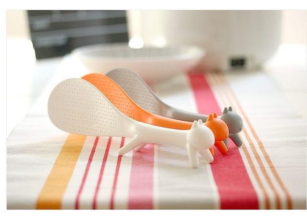 ✭米菈生活館✭【L10】廚房小物 創意立體松鼠造型 可立式飯勺 飯匙 造型飯匙