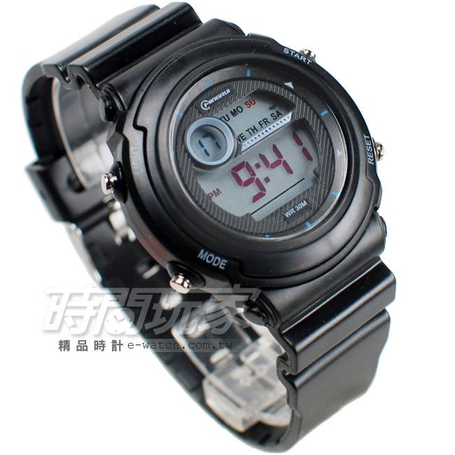 MINGRUI多功能計時腕錶學生電子錶兒童手錶女錶鬧鈴日期冷光照明MR8567黑