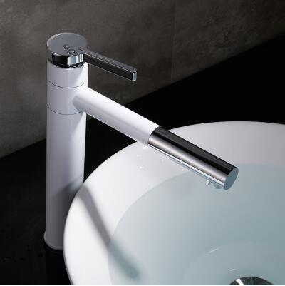 圓形水龍頭浴室櫃檯上盆洗臉洗手盆加高旋轉單孔單把冷熱全銅
