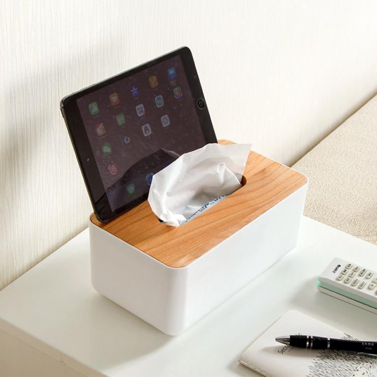 超豐國際橡木蓋紙巾盒創意桌面收納盒簡約客廳衛生紙盒子家用抽紙盒