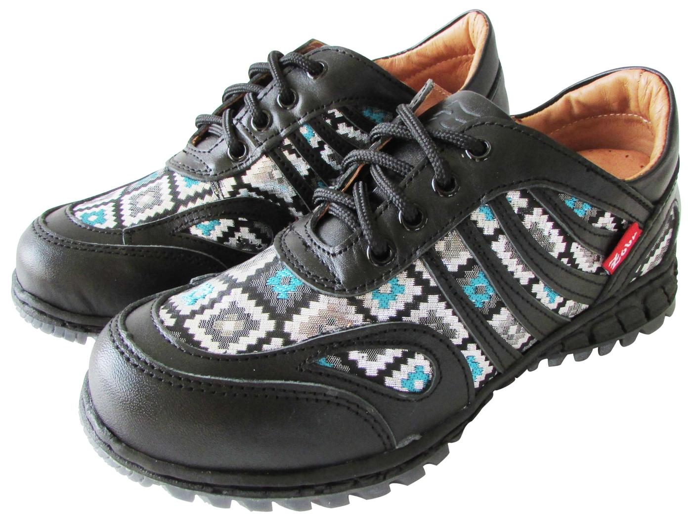 雙惠鞋櫃路豹Zobr民族風拼貼女牛皮休閒鞋台灣製造T205A黑格