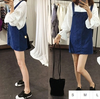 EASON SHOP GU0812藍色丹寧大口袋牛仔背心裙S-L韓版大碼修身牛仔吊帶裙短裙連身裙洋裝素色單色純色