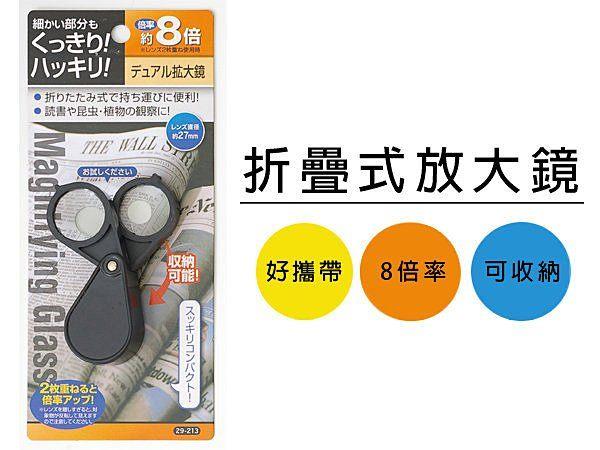 折疊式放大鏡 放大鏡 8倍率 攜帶方便 可折疊 節省空間 便攜式【SV3867】BO雜貨