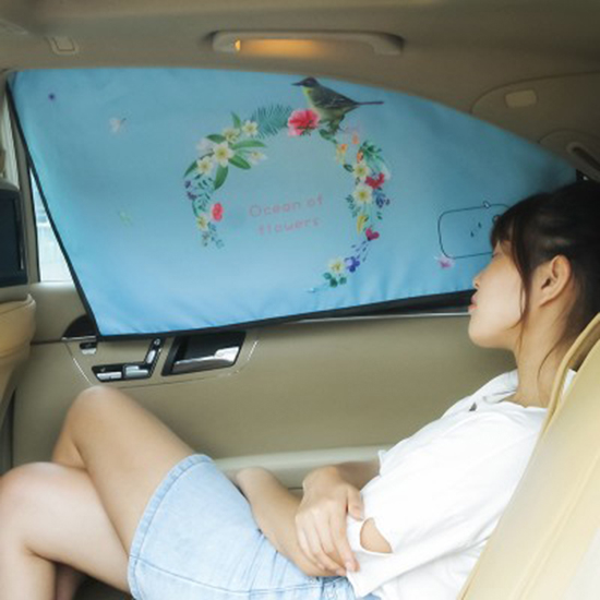 生活家精品K68-1印花磁吸汽車遮陽擋遮陽簾三層隔熱防曬車窗簾磁吸式車窗