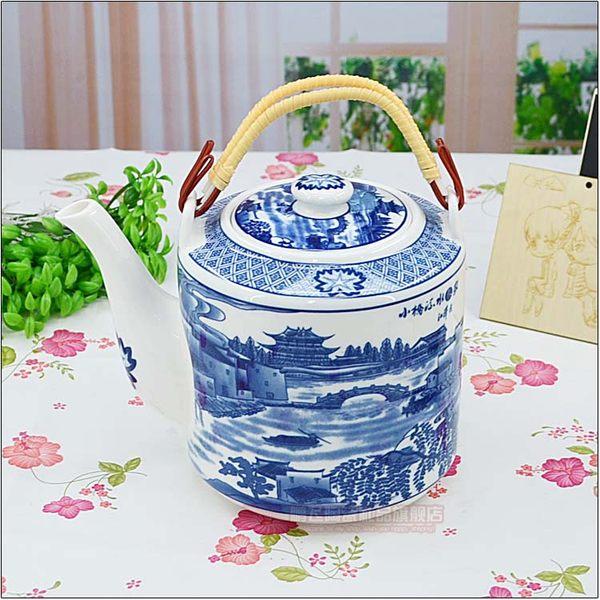 景德鎮陶瓷器 青花瓷耐高溫耐熱茶壺