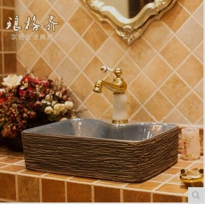 中歐式古典復古藝術台盆洗臉盆台上盆洗手盆方形雕刻線條
