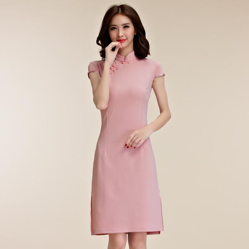 中大尺碼*復古風秀氣短袖唐裝改良式旗袍禮服~謝師宴洋裝~美之札