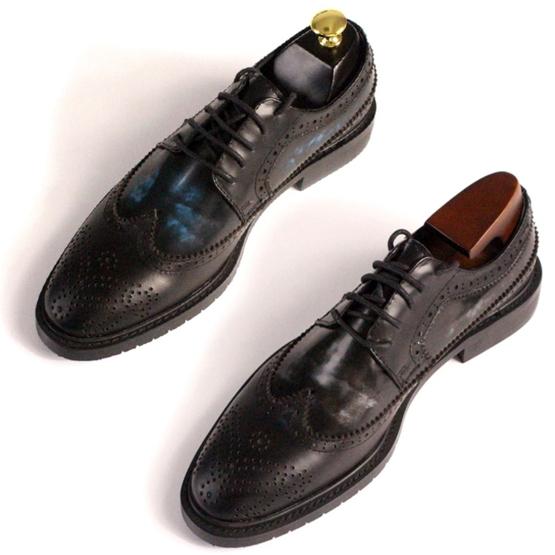皮鞋牛津鞋雕花鞋布洛克皮鞋休閒鞋擦色拼接純手工真皮牛皮鞋男靴男鞋2色200c2 Brag Na義式精品