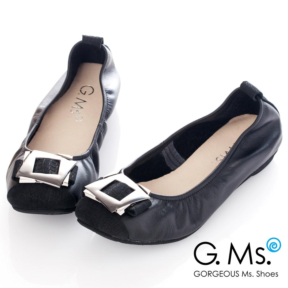 G.Ms*MIT系列-拼接鱷魚紋金屬飾釦牛皮娃娃鞋*貴族黑