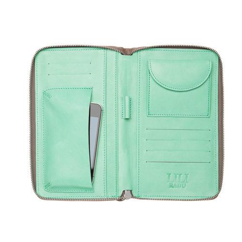 LILI RADU德國新銳時尚設計品牌手工雙色小牛皮時尚手拿多功能手機包錢包可可褐