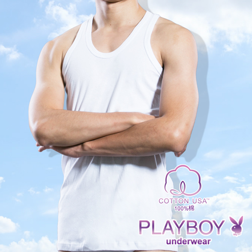 【PLAYBOY】100%純棉 親膚羅紋背心-P6628B