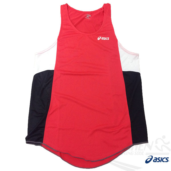 ASICS 亞瑟士 慢跑田徑背心 (紅*黑) 吸汗速乾 防紫外線 夜跑 路跑