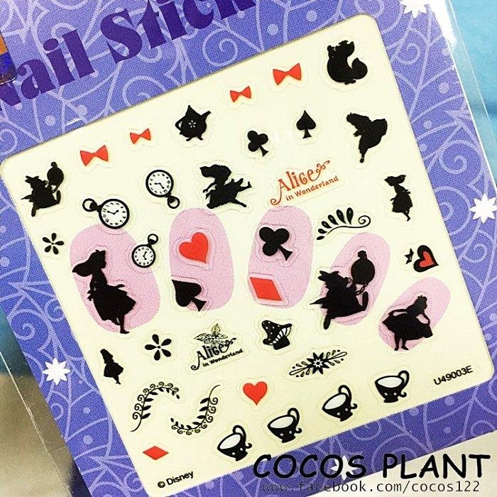 迪士尼指甲貼愛麗絲剪影夢遊仙境妙妙貓裂嘴貓美甲貼指甲貼紙指甲貼彩繪貼紙COCOS PF033