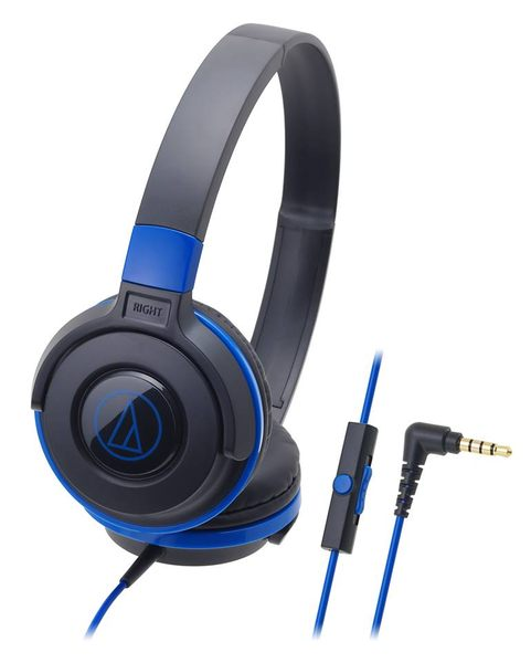 鐵三角ATH-S100is耳罩式耳機BBL黑藍色支援智慧型手機麥克風My Ear台中耳機專賣店