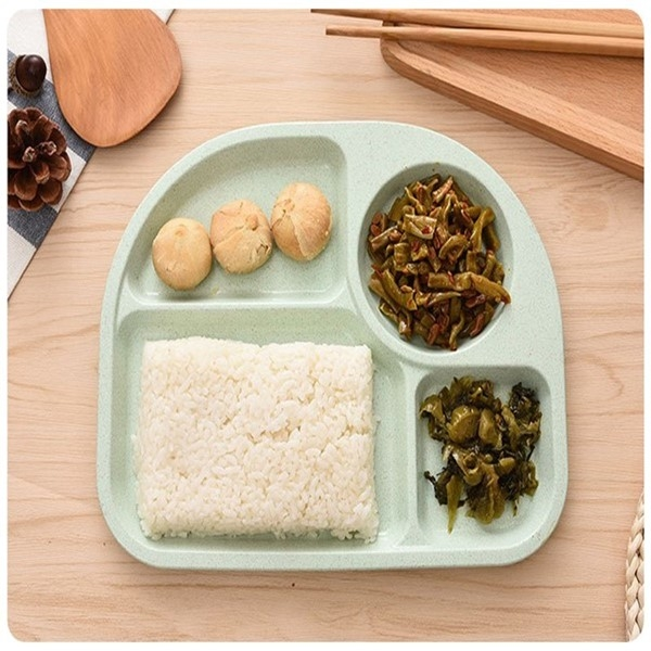 小麥8010兒童餐盤韓系北歐環保無毒小麥秸稈簡約4格快餐盤早餐盤醬料碟半圓學生餐具