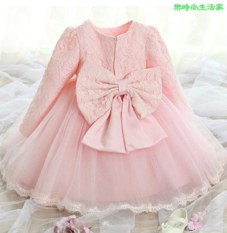 2017送髮箍長袖加絨保暖女童粉紅色白色禮服公主裙長袖婚紗花童禮服LA000