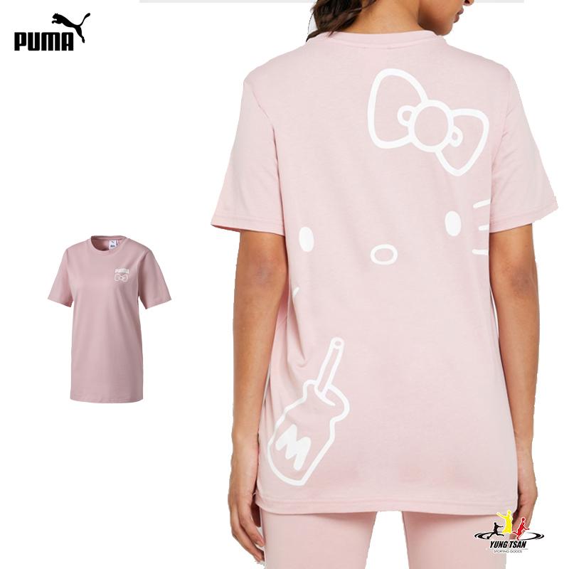 Puma Hello Kitty 女 粉色 短袖 上衣 圓領 T恤 棉質 聯名款 運動 休閒 短T 59714114
