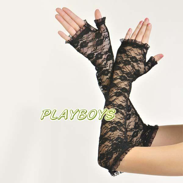 手套 開指造型.黑色蕾絲花紋手套(長)-玩伴網
