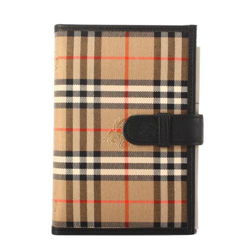 BURBERRY經典戰馬格紋穿扣記事本手帳冊黑駝色086034