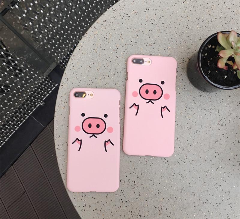 iPhone手機殼韓國可愛粉色胖胖豬磨砂硬殼蘋果iPhone7 iPhone6
